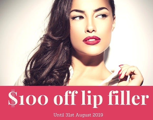 $100 off lip filler until 31st August 2019 at Cityskin Sydney